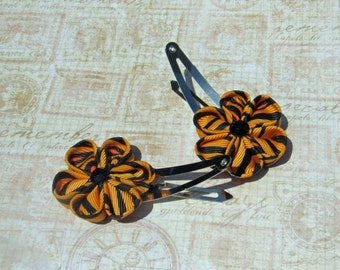 Tiger printed Kanzashi Flower snap clips