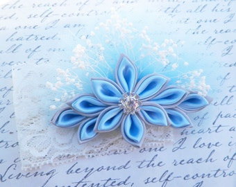 Kanzashi Flower, Light Blue and Silver Kanzashi Flower Corsage