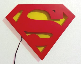 Superman Logo Neon Art Wall Hanging Original Sculpture