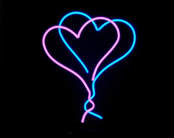 Double Heart Neon Freestanding Tabletop Valentine Art Sculpture Modern Design