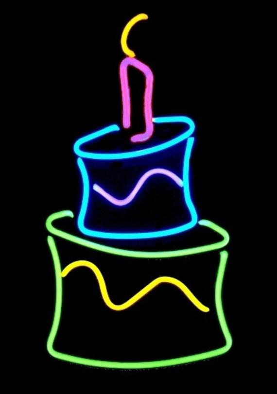 Happy Birthday Cake Freestanding Real Neon Tabletop Art Etsy