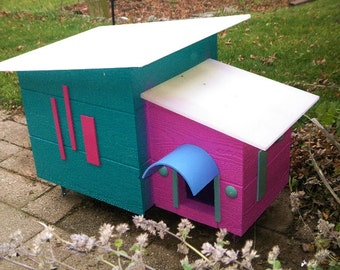 Cat Shelter Outdoor House, Mid Century Modern Design Outdoor for Feral Cats Handmade Unique Design