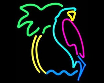 Parrot and Palm Tree Tropical Neon Art Wall Hanging Sculpture Modern Tiki Unique Design