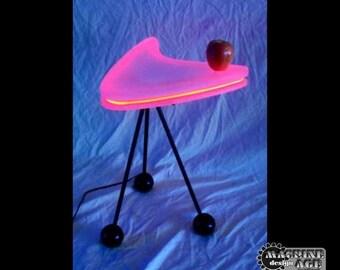 Boomerang Neon End Table MidCentury Modern Unique Original Design Light Table