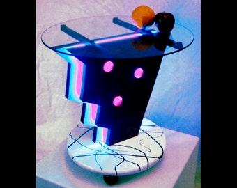 What? Neon End Table MidCentury Modern Unique Original Design Light Table