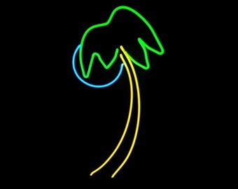 Cool Palm Tree with Blue Moon Real Neon Sign Art Sculpture
