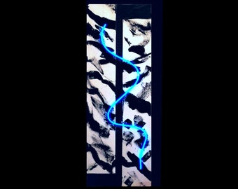 Abstract Neon and Canvas Wall Hanging Sculpture