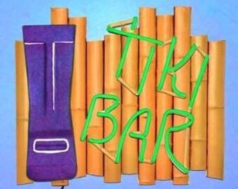 Tiki Bar Real Neon Wall Hanging Sculpture