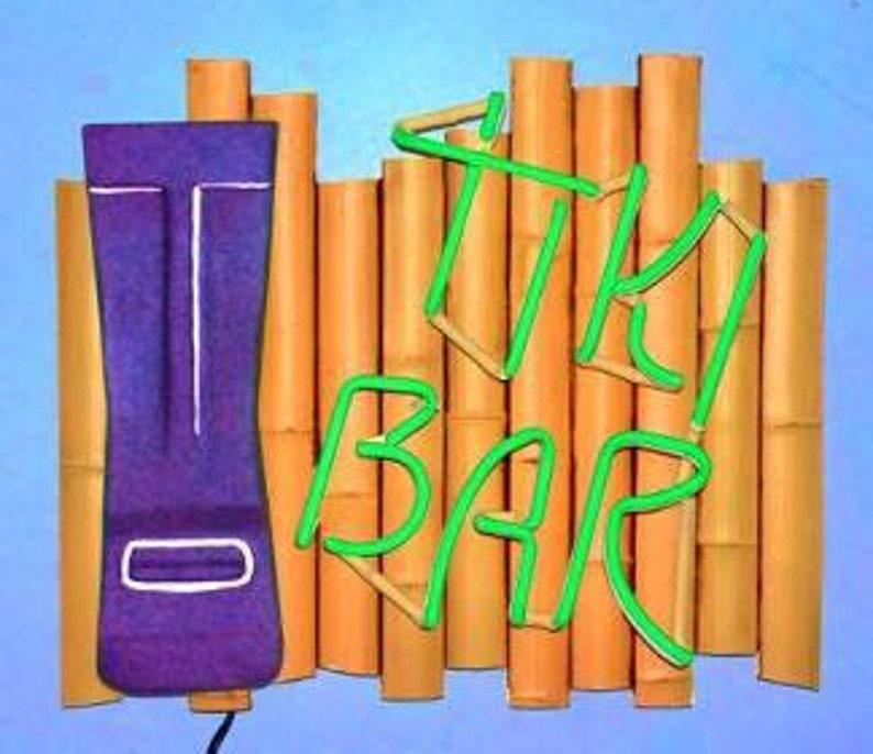 Tiki Bar Real Neon Wall Hanging Sculpture image 0