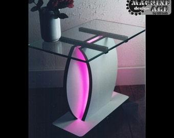 Eclipse Neon End Table MidCentury Modern Unique Original Design End Table
