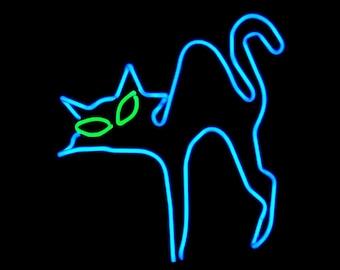 Scaredy Cat Halloween Freestanding Neon Art Sculpture