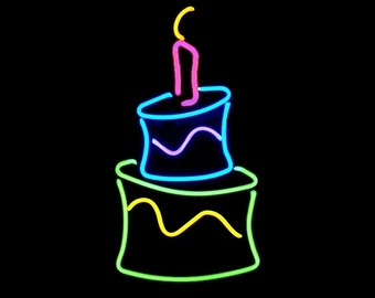 Happy Birthday Cake Freestanding Real Neon Tabletop Art Sculpture Handmade FREE Shipping!!!