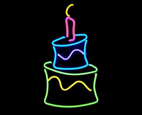 Astonishing Happy Birthday Cake Freestanding Real Neon Tabletop Art Etsy Funny Birthday Cards Online Necthendildamsfinfo