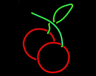 Cherries Real Neon Handmade Cherry Wall Hanging Art Sculpture