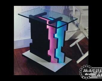 Jigsaw Neon End Table MidCentury Modern Unique Original Design End Table