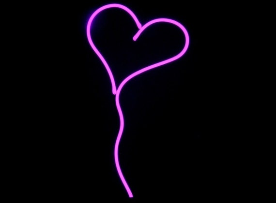 Hot Pink Heart Neon Art Valentine Sculpture FREE SHIPPING!