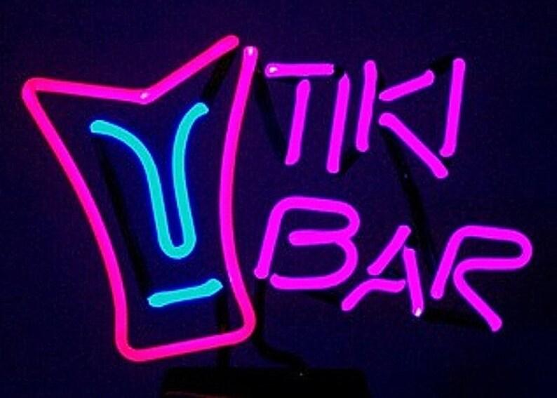 Tiki Bar with Tiki Mask Freestanding Tabletop Neon Design Art image 0