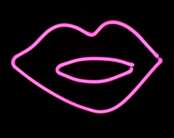 Hot Pink Lips Neon Freestanding Tabletop Art Sculpture Modern Design