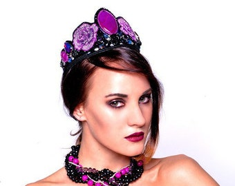 Dolce style beaded headband Handmade Crown with purple roses Beaded bridal crown Baroque gothic style headdress