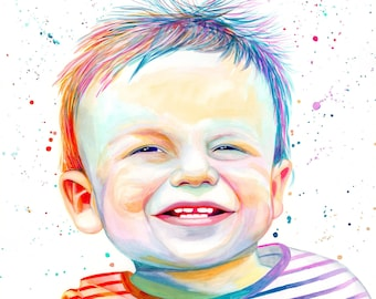 Personalized gifts for dad, Custom baby painting portrait illustration, Colorful child portrait from photo, Watercolor baby portrait of son