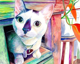 Custom cat portrait painting from photo, Personalized cat lover gift, Cats gifts for loss of cat, In loving memory of cat art commission