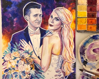 Anniversary gifts for husband, CUSTOM COUPLES PORTRAIT painting, First wedding anniversary gift for husband, Paper anniversary gifts for him