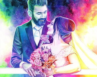 Cotton anniversary gifts for men, PERSONALIZED WEDDING PORTRAIT painting, Rainbow galaxy illustration, 2 year anniversary gift for husband