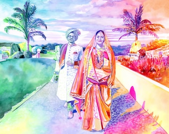 50th WEDDING ANNIVERSARY gift for Indian parents, sikh couple, sikhism gift, punjabi, indian wedding special gift couple watercolor portrait