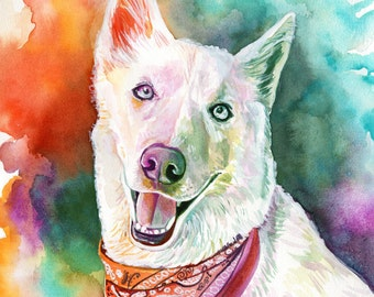 PET PERSONALIZED PORTRAIT dog portrait from photo to painting watercolor dog painting from photo gift for siberian husky swiss shepherd