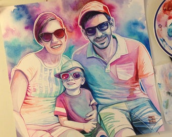 FAMILY PERSONALIZED PORTRAIT, custom watercolor portrait of family, gift for family, christmas gift for family, personalized gift