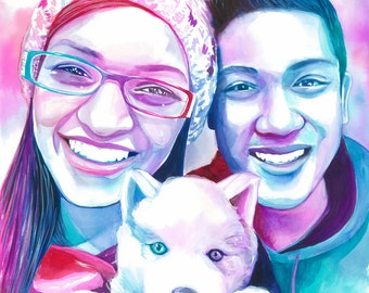 Girlfriend Birthday Gift Ideas COUPLE With DOG PORTRAIT Anniversary For Dog Lover Art