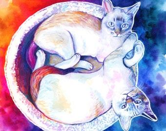 Personalized 2 cats painting, Artistic custom cat portrait illustration, Modern pet portrait, Colorful cat memorial, Cat lover best gift