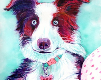 CUSTOM PET PORTRAIT dog painting from photo pet memorial watercolor painting border collie sheepdog owner personalized gift sympathy gift