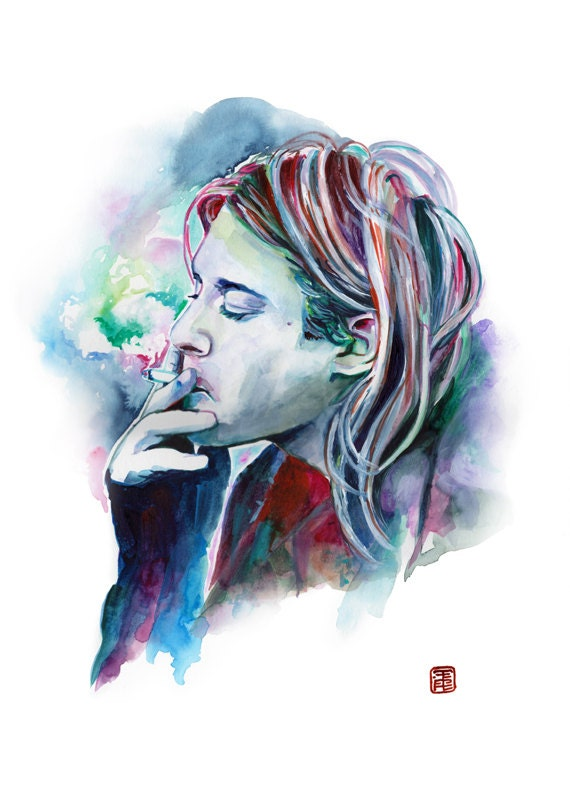 Nirvana Poster Kurt Cobain posters Grunge Años 90 retrato Kurt   Etsy