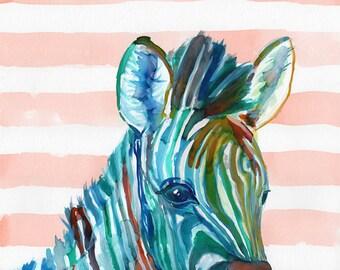 ZEBRA NURSERY ART, zebra art print, zebra decor, watercolor zebra, zebra wall art, jungle nursery art, jungle art print, animal nursery art