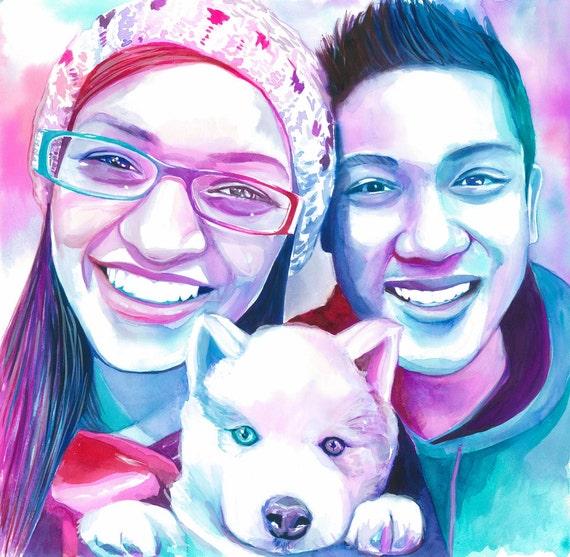 Girlfriend Birthday Gift Ideas COUPLE With DOG PORTRAIT
