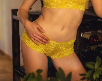 Panty - Dessous Slip yellow lemon II flower Power Lingerie on yellow and white