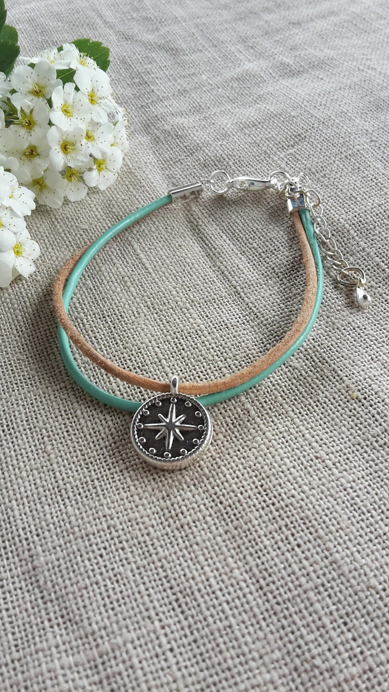 mint leather bracelet gift handmade silver plated compass nature Bracelet color choice