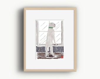 White Boxer Dog, Boxer Dog Print, Boxer Dog Gifts, Modern Dog Art, Ready To Frame