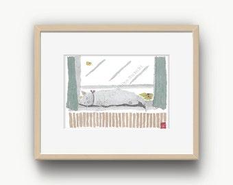White Cat Print, Cat Lover Prints, Sleeping Cat, White Cat Art, Colorful Cat Art