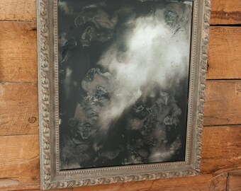 Silver Glass Mirror, Handcrafted Silver Mirror, Distressed Silver Mirror, Custom Mirror