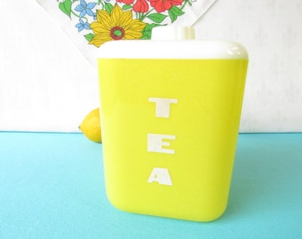 Lustro Ware Tea Canister - Hard Plastic - Art Deco - Typography - Size 110 -   Mid Century Canister - Vintage 1950's