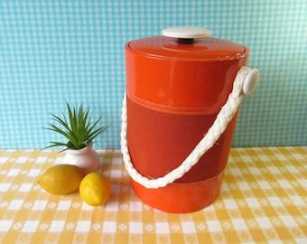 Georges Briard Ice Bucket - Rope Handle - Mod Groovy- Nautical - Bright Orange - Vintage Barware 1970's