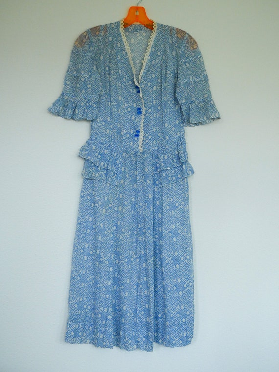 1930's Day Dress with Square Pattern - Small