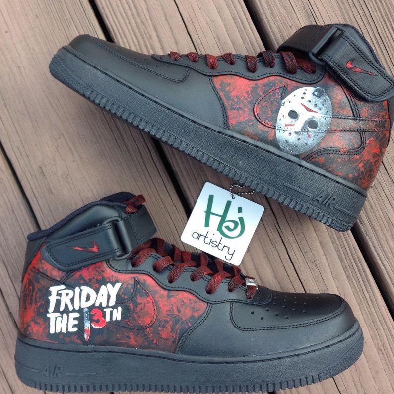 los angeles bd467 2c3b2 Friday the 13th Shoes. All Black Nike AF1 Mid Base shoe or Vans/Chucks.