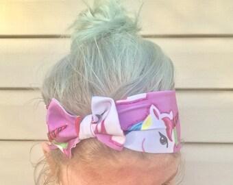 Unicorn bow headband workout headband stretch headband