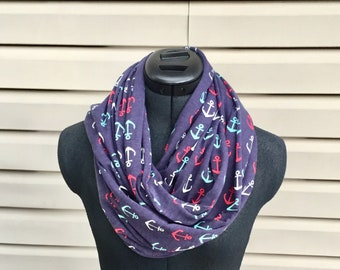 Anchor print infinity scarf loop scarves circle scarf