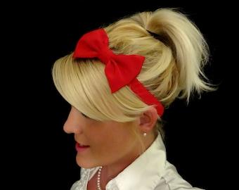 Glamorous red bow stretch headband pinup/retro/feminine