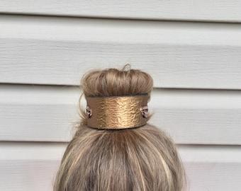 Vintage golden leather belt bun bracelet bun wrap hair cuff