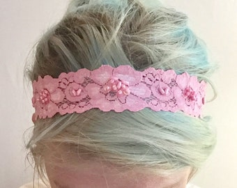 Candy pink sequin lace headband stretch lace headband feminine